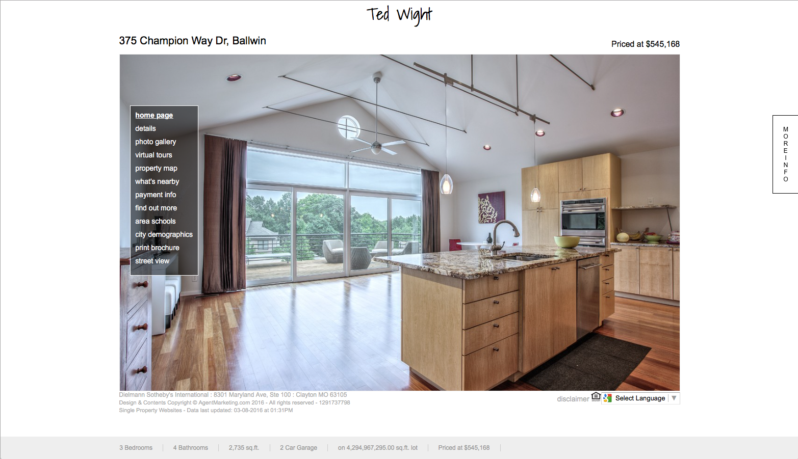 Screenshot of the homes website